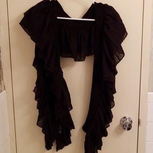 Apt. 9 Black Woven Shoulder Wrap One Size